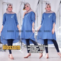 NEW BLOSSOM BLOUSE LONGTUNIK JEANS WASHED TERBARU LD 118CM BIG SIZE