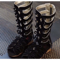 SANDAL FASHION GLADIATOR ANAK / HIGH BOOTS RIBBON BLACK - 34