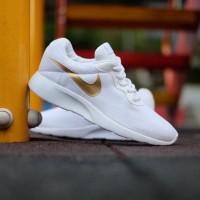 Sepatu Olahraga Nike Tanjun Trainer All White Gold For Women Original