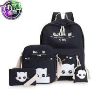Tas Ransel Anak sekolah kucing intip putih 4 in 1 murah