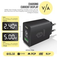 UNEED QuickPlug Smart Charger QC 3.0 & PD with LED Display - UCH404