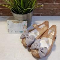Sepatu Jelly Anak Replika Mini Melissa Gold Pita Abu