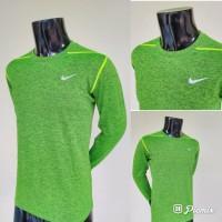 Kaos Baju Olahraga Lari Nike Lengan Panjang - 572 HIJAU LUMUT