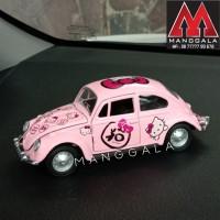 Pajangan Miniatur Diecast Mobil Hello Kitty VW Beetle