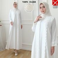 Baju Gamis Wanita Putih / Muslim Terbaru / Gamis Muslim #805 STD