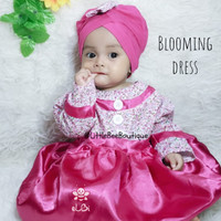 Baju Muslim Balita - Baju Pesta Kekinian - Blooming Dress 6-12bulan