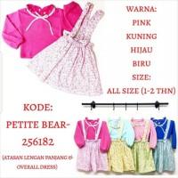 Baju Anak Bayi Perempuan Dress Overall Kodok Flower Pita