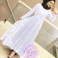 MAXI YUNI BRUKAT PUTIH [Hijab 0121] SC9 Baju Gamis Wanita Terbaru