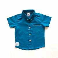 kemeja hem baju anak bayi biru laut distro