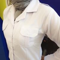 Kemeja Putih Baju PNS ASN Pemda Wanita Panjang Kerah Blus