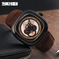 Jam Tangan Pria Original SKMEI 9129 Leather Strap Anti Air - Brown