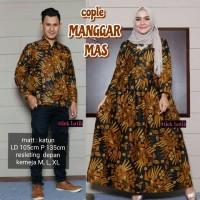 RESTOCK Set couple longdress gamis batik manggar mas kemeja batik pria