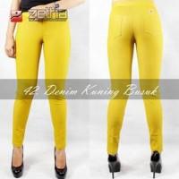 celana legging zetha denim kuning busuk kubus jumbo big size 3L XXL