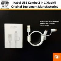 Kabel Data XiaoMi Combo 2 in 1 Micro USB to Type C Fast Charging Ori