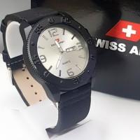 jam tangan pria super premium S.A tali kulit / jam tangan pria - Hitam