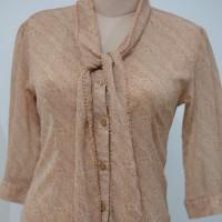 ACCENT Abstract Print Khaki Office Blouse Woman Top blus wanita