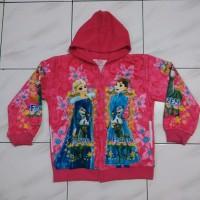 jaket terry hoodie anak perempuan frozen anna elsa pink usia 5-8tahun