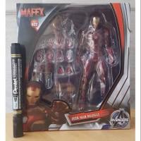 mainan action figure iron man mark 45 recast mafex avengers marvel tin