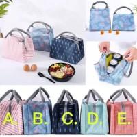 Lunch bag Korean -Tas Bag Penahan Dingin Panas Korea Anak Cooler bag - Pink Garis