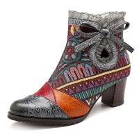 Terlaris SOCOFY Splicing Pattern Lace Block Zipper Leather Ankle
