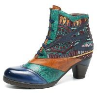 Terlaris SOCOFY Bohemian Splicing Pattern Block Zipper Ankle Leather