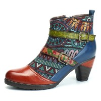 Terlaris SOCOFY Bohemian Splicing Pattern Block Buckle Ankle Leather