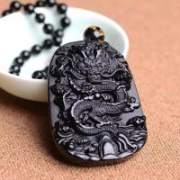 Kalung Pria Liontin Naga Batu Giok Hitam / Black Jade