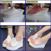SEPATU sandal wanita Wedges SLOP Mutiara murah berkualitas terbaru