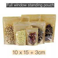 standing pouch kraft kombinasi + zipper 10x15 zipper food bag