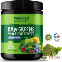 NATURELO - Raw Greens SuperFood Powder - 30 day supply