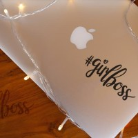 Decal Sticker Macbook Stiker Quote Typography Girlboss Laptop