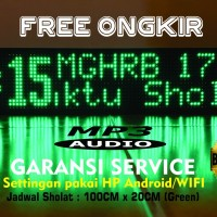 Lampu Jadwal Sholat MP3 + WIFI 100x20 Hijau (FULL Outdoor) GARANSI