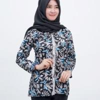 Atasan Wanita - Blouse Batik Kantor - Blus Nirmala Biru