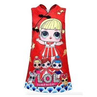 Dress Anak Cewek / Dress Jacquard RED Cheongsam LOL Surprise
