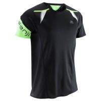 Kaos lari pria baju olahraga pria kiprun running t-shirt light black