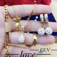 titanium set perhiasan lapis emas 24k 05004