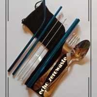 Sedotan Stainless straw cutlery set