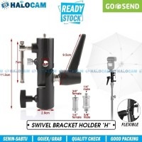 H-Type Swivel Flash Screw 1/4-3/8 Light Stand Umbrella Holder Bracket