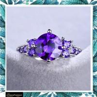 Cincin zircon lingkar ungu kristal berlian wanita CCZLU - Ungu, 6