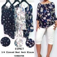 ESPRIT 3/4 Sleeved Boat Neck Blouse brand murah
