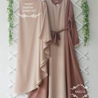 Gamis Syari SHAFIYA Syar'i Baju muslim wanita Satu set - mocca