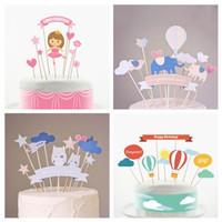 topper satu set / dekorasi bread tart kue ulang tahun anak dewasa