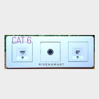 Schneider Saklar 3 Frame Data Cat 6 + TV + Telepon Outlet Leona