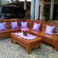 Mebel Kayu Jati Jepara Satu Set Kursi Sudut Ukir Jati Model Bagong