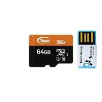 JUAL GAN Team MicroSD 64GB UHS 1 PLUS Card Reader Speed 500x 80Mbps