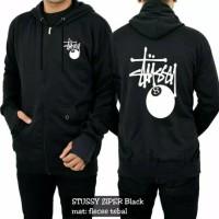 Jaket Fleece Hoodie STUSSY Hitam Sweater Zipper Premium
