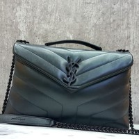 YSL Loulou CALFSKIN Mirror Quality Hand Bag Branded Wanita ALL BLACK