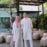 Baju Pasangan / Gamis Wanita busui / Koko putih murah : White Couple