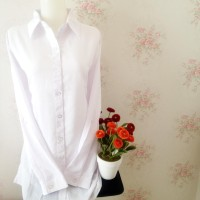 Kemeja blus wanita putih polos silk tosibo japan body panjang