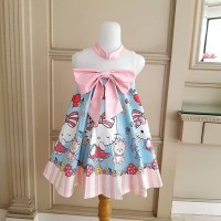 BAJUKIDDIE HELLO KITTY RIBBON BLUE . DRESS ANAK PEREMPUAN GAUN IMPORT